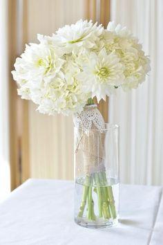 White Dahlias + Hydrangeas | #ShabbyChic Bouquet | See more: www.weddingwire.com | Echelon Florist