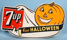 Halloween Ghost JOL 7up Store Counter Sign Unused 1950