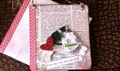 Cat Greeting Card Hanging Sign Collage Love 3-d by fireflygirl777