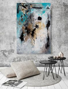 #turquoise #extra #Large #wallart #art #modernart #modernabstract #interiordesignideas #black #gold #gray #contemporary #grey #interiordesigners #buyart #watercolor #artcollector #interior #juliaapostolova #abstlractart #interiordesignideas #abstractpainting #watercolour #etsyseller #abstractexpressionism #goldleaf #abstraction #interiordesigns #modern  #Rectangle #Print Option of #Original #SOLD #Abstract #Diptych #Painting: #MilkyWay 1 & 2, by #Fine #Artist #JuliaApostolova ▼BUY TWO…