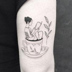 Bookish Tattoos, Nerdy Tattoos, Cute Tattoos, Body Art Tattoos, Girl Tattoos, Tatoos, Cup Of Tea Tattoo, Teacup Tattoo, Writer Tattoo