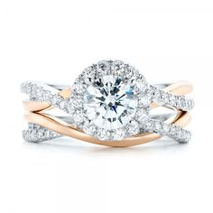 Two-tone Halo Criss-Cross Engagement Ring Wedding Set #JosephJewelry   Bellevue   Seattle