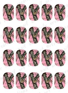 20- Nail Decals Pink Camouflage Water Slide Nail Art Decals. Girly Mossy Oak Camo Style on Etsy, $2.25