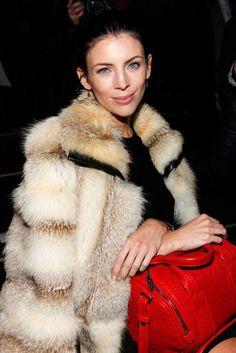 Front Row NYFW: fur and bright handbags.