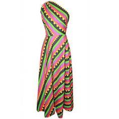 Sex & The City Lanvin Vintage Multi Color One-Shoulder Dress - circa 1980s - S