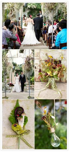 greenhouse wedding ceremony with a bouquets made of Angela's bouquet used chocolate cosmos, cymbidium, oncidium, coreopsis, scabiosa flowers & pods, uluhe (fiddlehead) fern, china berry, dianthus, echeveria, and maple leaves...notice the ladybug too!
