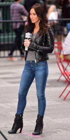 Megan Fox tight jeans and black leather jacket