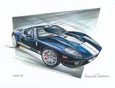 Ford GT Race Car Print Automotive Art Muscle Car by CarsAndMore