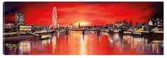Sunset From Jubilee Bridge - £473 by Paul Kenton. Save 15% on this artwork, free delivery within the UK on all orders over £75