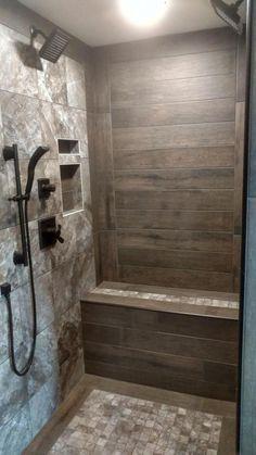 Rustic walkin shower is part of Rustic bathroom shower - Rustic Bathroom Shower, Wood Tile Shower, Tile Walk In Shower, Master Bathroom Shower, Rustic Bathroom Designs, Walk In Shower Designs, Diy Shower, Basement Bathroom, Bathroom Ideas