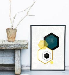 Geometric Art Printable Art Hexagon Print Geometric by exileprints