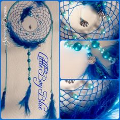 'Little Boy Blue' custom made dreamcatcher for the imminent arrival of a baby boy.