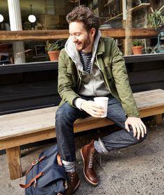 layers // menswear, mens style, fashion, boots, denim, jacket, sweatshirt, casual, weekend, street style