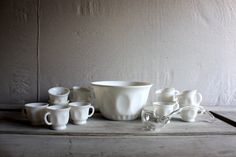 milk glass punch bowl set with glass ladle by umbrellafant on Etsy