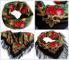 "Russian Pavlovsky Posad shawl ""Stranger"" ""Незнакомка"""