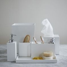 Lacquer bath accessories white west elm washroom pinterest soaps accessories and bath - West elm bathroom storage ...