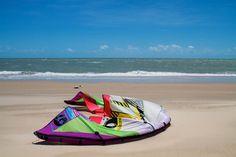North kite lying on beach in Cumbuco, Brazil 5 Things, Brazil, Beach Mat, Outdoor Blanket, October, Learning, Garden, Life, Kitesurfing