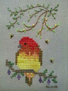 Bird in cross stitch, for hand embroidery inspiration. Small Cross Stitch, Cross Stitch Cards, Cross Stitch Animals, Cross Stitch Flowers, Modern Cross Stitch, Cross Stitch Designs, Cross Stitching, Cross Stitch Embroidery, Embroidery Patterns