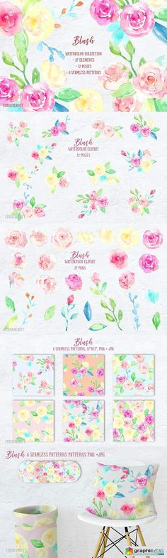 Watercolor Collection Blush  stock images