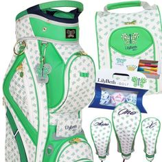 LilyBeth Ladies Designer Green Butterfly Golf Bag Gift Set