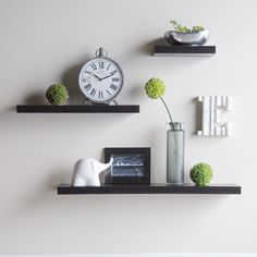 This site has awesome prices on shelves/key & coat racks- Have to have it. Hudson Easy Mount Floating Shelves - 3 pk. (36 in./24 in./1 in.) - Espresso - $54.99 @hayneedle