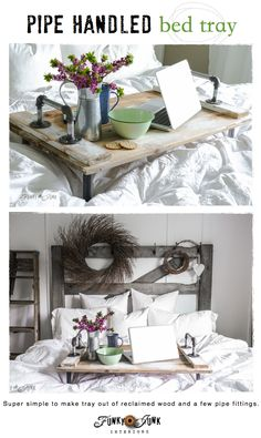 Springing up the bedroom with a pipe handled bed tray in a white bedroom. Super easy to make! via FunkyJunkInteriors.net