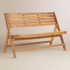 Natural Brown Wood Outdoor Folding Bench #affiliate