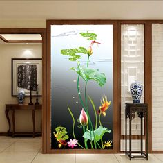 Custom Size Window Films PVC self adhesive or static cling decorative frosted privacy Sticker Lotus flower Living Room Partition Design, Living Room Tv Unit Designs, Room Partition Designs, Window Glass Design, Frosted Glass Design, Wardrobe Door Designs, Glass Barn Doors, Dressing Room Design, Window Films