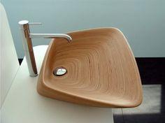 Wash Basin in teak wood Bathroom Sink Design, Wooden Bathroom, Bathroom Sinks, Bathrooms, Bamboo Bathroom, Bathroom Ideas, Bathtub, Wood Sink, Teak Wood