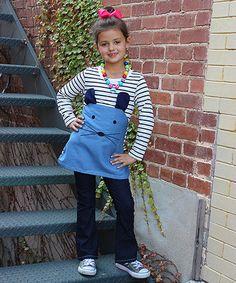 Look at this #zulilyfind! White & Denim Mouse Tunic & Sailor Jeans - Toddler & Girls #zulilyfinds