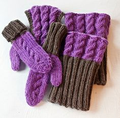 Heliantus: Accessories set featuring mittens and leg warmers/ boot cuffs with reversible cables.
