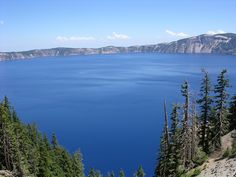 Crater Lake, Oregon is blue, blue, blue. Wonderfully strange place.