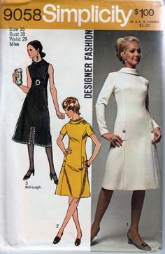 simplicity 9058 ladies dress vintage 1970's pattern