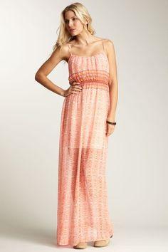 Twelfth Street by Cynthia Vincent Smocked Waist Print Maxi Dress on HauteLook