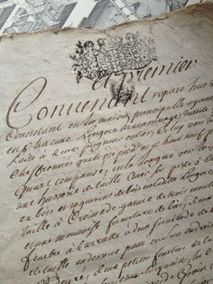 Documents on vellum.  FleaingFrance Brocante Society French handwritten documents from the 1700s