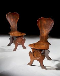 A Pair of George II Mahogany Sgabello Hall Chairs Mackinnon - Fine Furniture Fine Furniture, Antique Furniture, Lancaster London, Lady Lever Art Gallery, Dumfries House, Hall Chairs, Cabinet Makers, Chairs For Sale, Upholstered Furniture