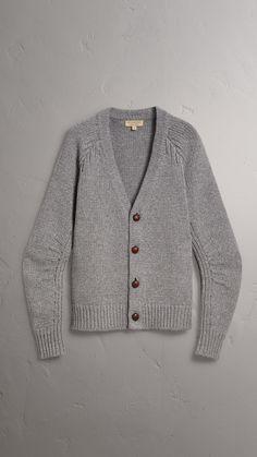 4cef2c2d8ee48f Chunky Knit Wool Cashmere Cardigan in Mid Grey Melange - Men