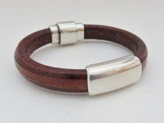 Bracelet en cuir pour homme, cadeau fête des pères, bracelet en cuir marron pour homme, noir, fermoir aimanté, en détresse, Regaliz bracelet, en cuir épais