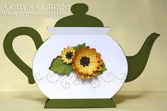 Gem's Cottage Blog » Blog Archive » Paper Pierced Teapot Card (+ Paper Piercing Videos and freebies!)