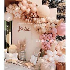 Ballons Pastel, Orange Balloons, Rose Gold Balloons, Rainbow Balloons, Wedding Balloons, Baby Shower Balloons, Baby Shower Parties, Baby Shower Balloon Decorations, Baby Shower Pink