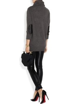 leather-trimmed cashmere turtleneck sweater + leather skinny pants + Christian Louboutin shoes