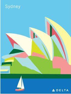 Sydney, Australia Opera House· Delta Air Lines Travel Poster Retro Airline, Posters Australia, Australian Vintage, Retro Poster, Kunst Poster, Travel Maps, Usa Travel, Travel Photos, Advertising Poster