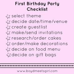 An awesome First Birthday Party Checklist for the Type A mama!
