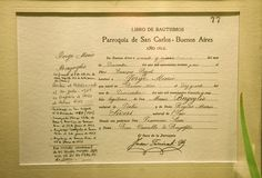 Minutes of parish book that records the sacrament of baptism to Jorge Mario Bergoglio in the Basilica of Mary Help of Christians and St. Charles Borromeo Parish. The parish was already known for having among its parishioners to Carlos Gardel and Blessed Ceferino Namuncurá Aboriginal. (EFE)