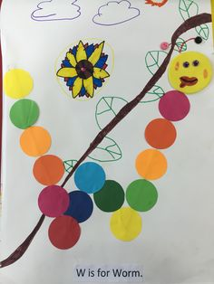 W is for worm. Art fine motor craft abc fun activity for preschoolers. Learning the vocabulary.