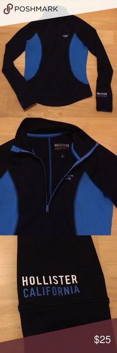 Hollister quarter slip zip up sweatshirt Hollister quarter zip up sweatshirt, made to be form fitting. Navy blue & lighter blue, with thumb holes at bottom of sleeves Hollister Tops Sweatshirts & Hoodies