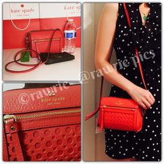"""New Kate Spade red perforated leather crossbody 100% authentic. Empire red leather with 14-karat light gold plated hardware. Strap drops 19"""". Measures 7"""" (L) x 5.5"""" (H) x 4"""" (W). Brand new with tags. Comes from a pet and smoke free home. Kate Spade dustbag included. kate spade Bags Crossbody Bags"""