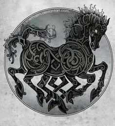 In Norse mythology, Sleipnir is an eight-legged horse of Norse God Odin Vikings. Sleipnir is Odin's steed, is the child of Loki and Svaðilfari, is described as the best of all horses, and is sometimes ridden to the location of Hel. Norse Pagan, Old Norse, Symbole Viking, Norse Tattoo, Viking Dragon Tattoo, Tattoo Symbols, Ragnar Lothbrok, Norse Vikings, Asatru