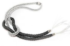 Kit Kumihimo Black-White + Free Video Tutorial - Toho Rocailles 6/0 - Collana / Necklace