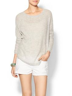 NEW Vince Deep Raglan Pullover Sweater in Stonewash  Grey Size L $295 NWT #Vince #ScoopNeck